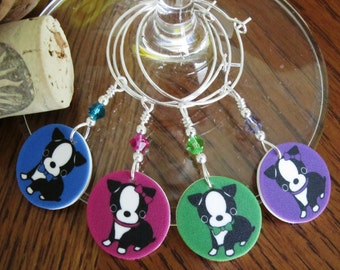 Precious Boston Terrier Pups Wine Glass Charms