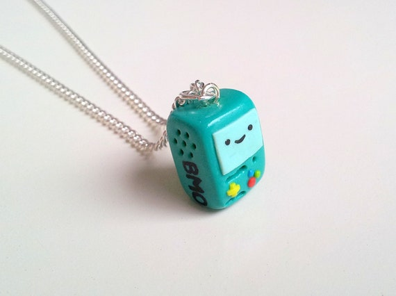BMO 'Beemo' Adventure Time Necklace, Polymer Clay Necklace, Cute Green Robot
