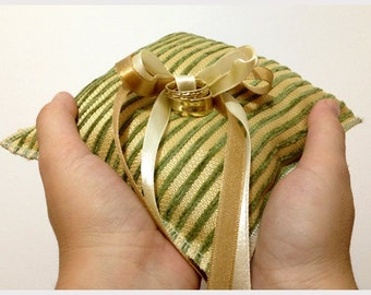 Wedding ring pillow in Gold and Green with satin ribbons