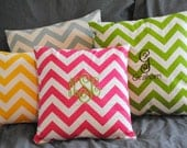 small chevron monogrammed throw pillow SLIPCOVER with zipper pink yellow blue green gray (pillow not included)