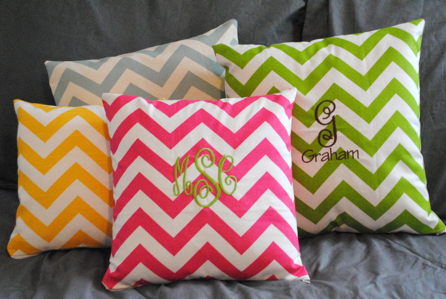 Small Chevron Monogrammed Throw Pillow Slipcover With Zipper