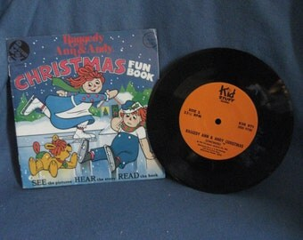 "RARE, Vintage, Raggedy Ann & Andy - ""Christmas Fun Book"", Vinyl LP Record Album, Childrens 7"" Story Book, Coloring Book"