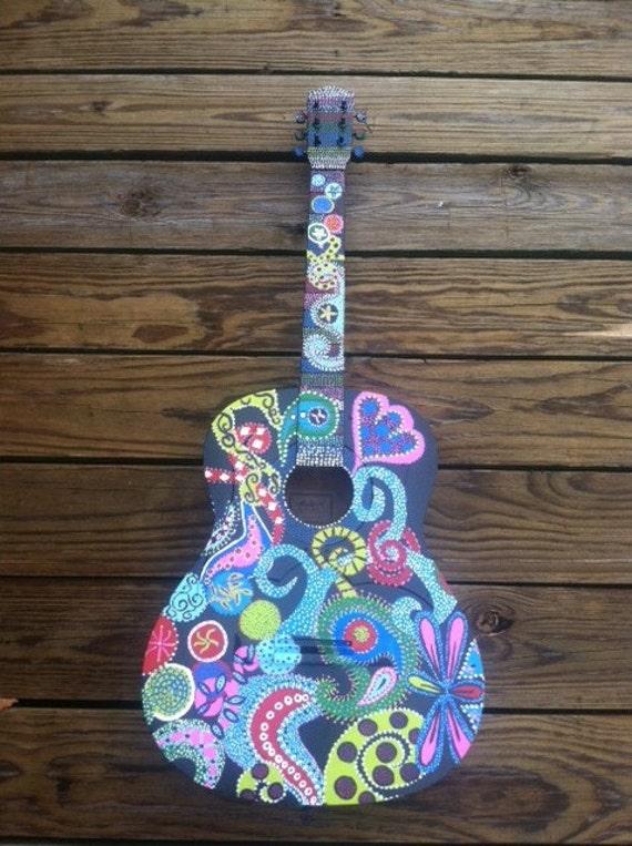 Painted Guitar Decor