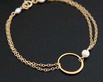 Circle ETERNITY Bracelet, Gold Filled and Vermeil, Circle Pearl Bracelet.