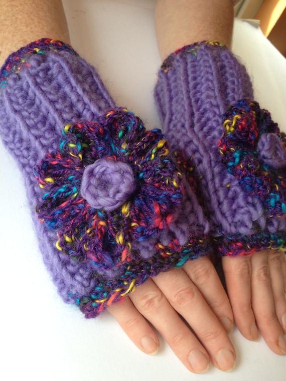 Ooak womens unique designer handmade chunky crochet/knitted fingerless mittens,gloves,hand arm warmers,purple, multicolour crochet flower