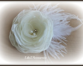Bridal Flower Hair Clip with Rhinestone and Ostrich Plumes Bridal Fascinator Ivory Floral Fascinator Bridal Hair Accessories Wedding Clip