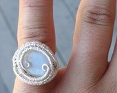 Wire Wrapped Crystal Ring - Moonstone Size 4 Sterling Silver