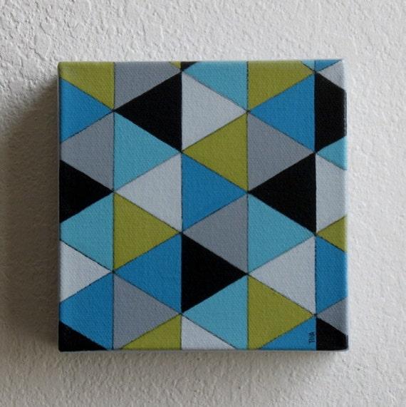Geometric Small Art Block 5x5 Painting Canvas Art Original