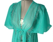 Gorgeous Rita Hayworth style sheer teal blue front-tie lace full length robe - short sleeves - petite m - long nightgown lingerie negligee