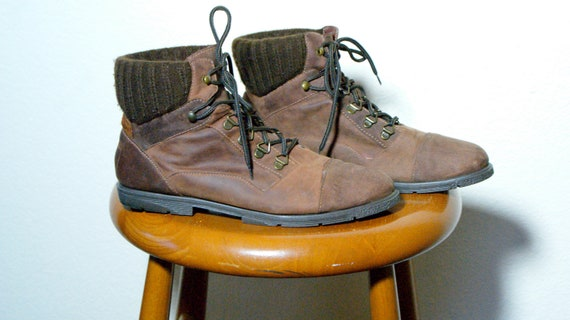 Vintage Brown Leather Hiking Lace Up Euro Sock Boots: Womens 9 Mens 7.5