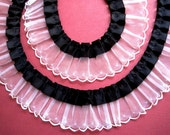 """Pleated Organza Lace with Ribbon, Black / White, 7/8"""" Ribbon with 1 1/2"""" Organza, 1 yard For Romantic & Victorian Crafts"""