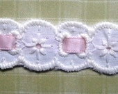 """REMNANT - Cotton Embroidered Eyelet Beading Trim, Pink/ Ivory, 3/4"""" inch wide, For Dolls, Reborn, Scrapbook, Home Decor, Apparel"""