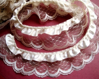 "Gathered Lace with Ribbon, Ivory / Ivory, 7/8"" Ribbon with 2 1/4"" Lace, 1 yard For Costumes, Dolls, Accessories, Decor, Scrapbook"