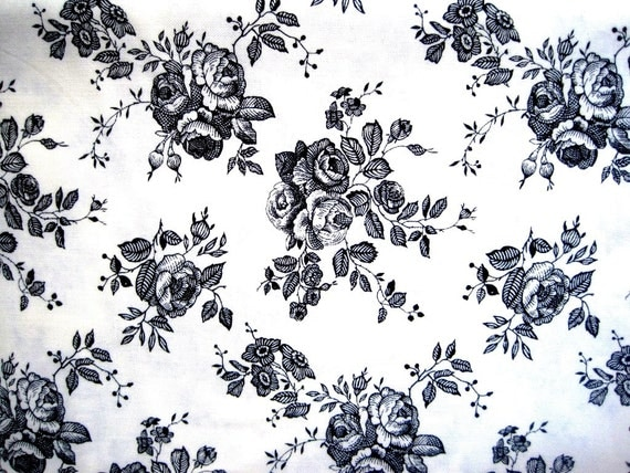 "Elegant Rose Bouquets Drawings Fabric, Fat Quarter,  Black / Champagne, 18"" X 22"" inches, 100% Cotton, For Victorian & Romantic Projects"