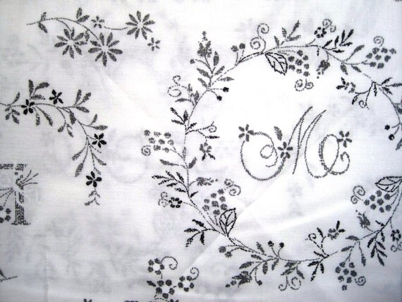 "Whitewash Embroidery Sampler Fabric, Fat Quarter, Grey / White, 18"" X 22"" inches, 100% Cotton, For Victorian & Romantic Projects"