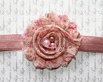 Vintage Pink Chiffon Baby Flower Headband, Newborn Headband, Baby Girl Flower Headband, Photography Prop