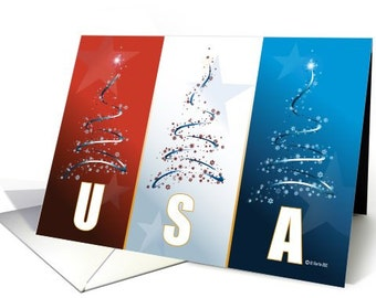 Red, White and Blue Patriotic Christmas Card