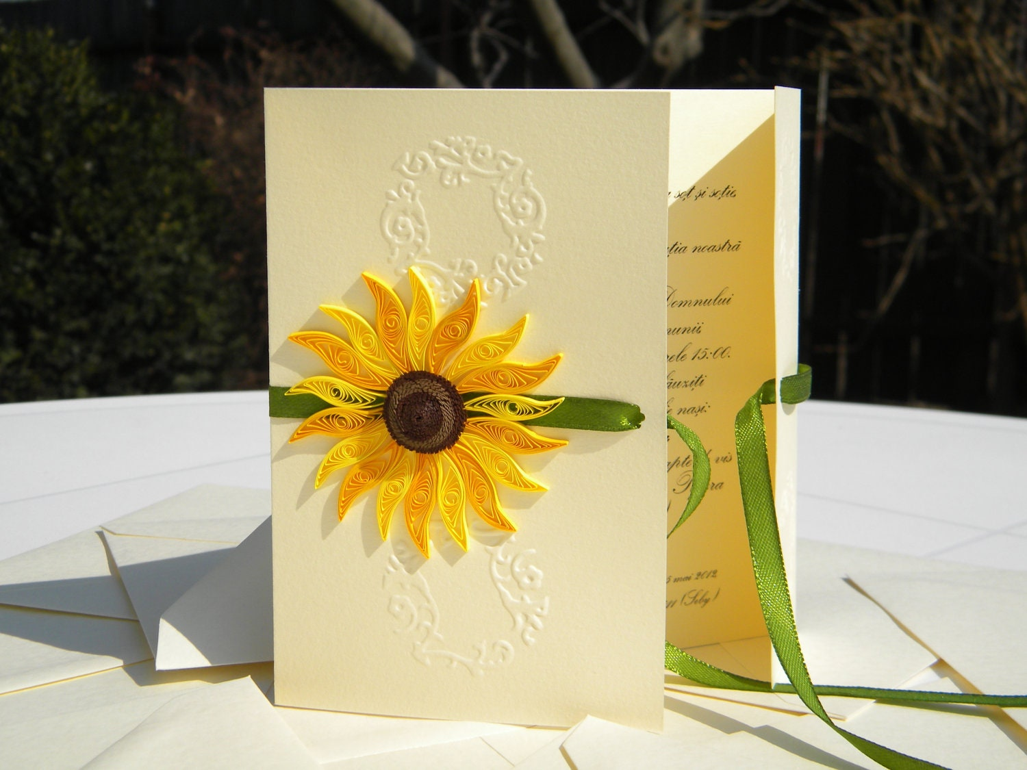 Inviti Matrimonio Girasoli : Elegant sunflower wedding invitation summer weddong