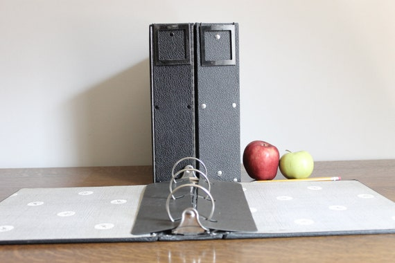 Vintage Black Binders Three Ring, Organization, Office, Back to School