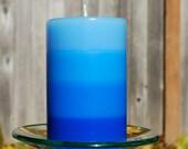 Blue Layered Pillar Candle