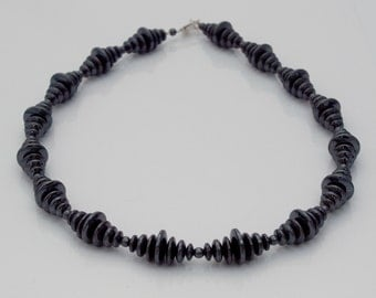 Graduated Haematite disc necklace