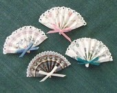 Vintage Wallpaper Mini Folded Fans With Tiny Lace Attached-Mixed Color Set