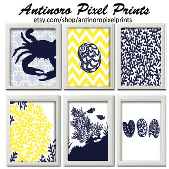 Items similar to beach house prints navy blue yellow white for Beach house prints