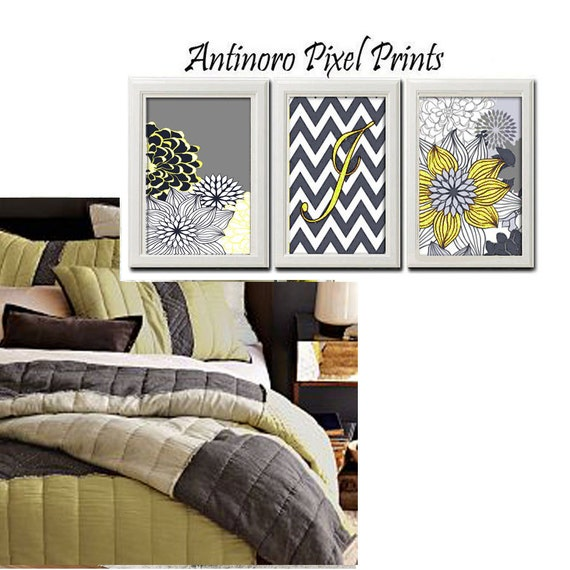 Floral Navy Light Yellow Grey White Wall Art Vintage / Modern inspired Art Prints Collection  -Set of 3 - 8x11 Prints - (UNFRAMED)