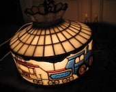 Stained Glass Train Ceiling Light