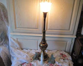 Tall Brass Lamp Pretty Like Flower Sculpture around the bottom of it. Milk Glass Shade 36 inches