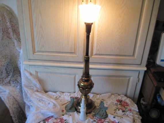 RESERVED / Tall Brass Lamp Pretty Like Flower Sculpture around the bottom of it. Milk Glass Shade 36 inches /:)S