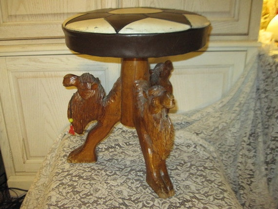 RESERVED Stool Hand Carved Camels Base Sweet. Different  Make an Offer on this  Item