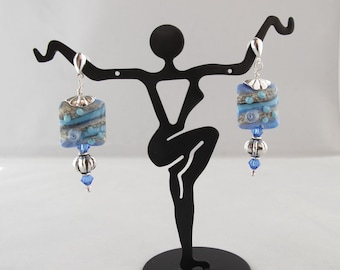 Periwinkle Lampwork Chicklet Post Earrings with Silver and Crystal Accents