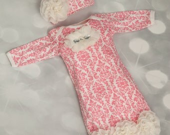 Pink Damask Infant Layette Cotton Baby Gown with Off White Chiffon Flowers and Rhinestones