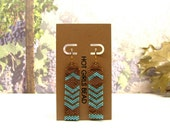 Chevron Earrings Handmade, blue  peyote, sea foam blue, chevron, jewelry, gift