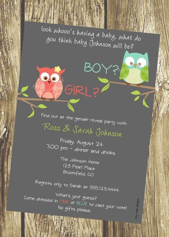 Look Whoo's Having a Baby Owl Gender Reveal Party, DIY Printable, digital file (item 1010)