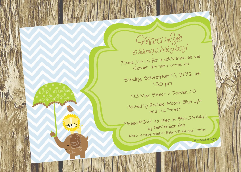 Baby Shower Boy Invitations Diy ~ Jungle baby boy shower invitations elephant lion