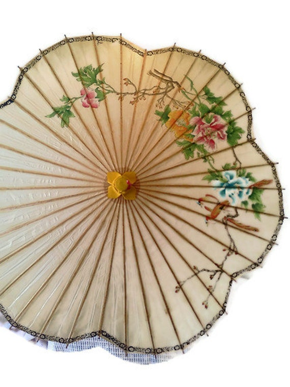 Vintage Rice Paper and Bamboo Umbrella