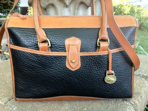 DOONEY & BOURKE Vintage Black AWL Leather Satchel Crossbody Handbag British Tan Trim