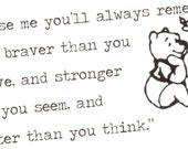 "Winnie the Pooh / Christopher Robins quote greetings card ""Promise me you'll always remember: You're braver than you believe"""