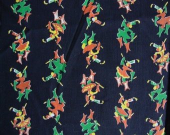 Vintage 40s Cotton Fabric Fun Parade Leader Print Bright Colors Orange Green and Yellow Dark Navy Blue Marching Band CBF