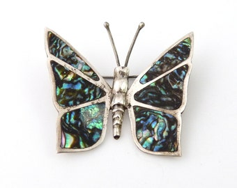 Mexican Sterling Silver and Abalone Butterfly Pin
