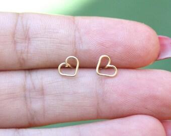 Gold earrings - Tiny heart gold earrings,heart stud earrings, tiny studs earrings, gold studs earrings, gold post ,gold spiral star earring