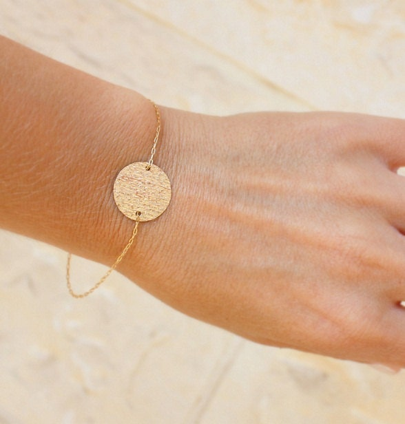 Delicate Gold Bracelet Small Disc Gold Bracelet by JulJewelry