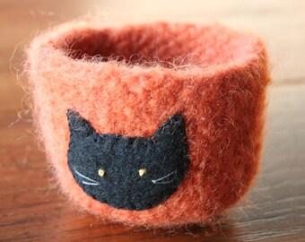 orange wool felted halloween vessel with black cat