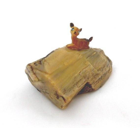 Tiny Bambi Paperweight, Kitsch Miniature Figurine,  Plastic Deer Figurine, Bambi on Rock, Woodland Cabin Decor, Fun Special Gift