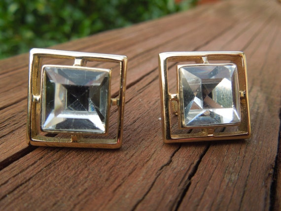 Vintage Avon Earrings, Clip On Type, Signed, Gold Tone Squares with Large Central Rhinestone