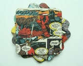 Upcycled Deadpool comic coasters - set of 4 wood coasters