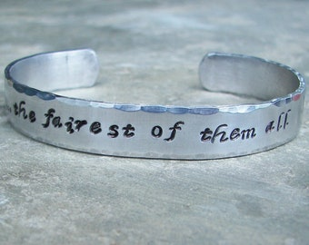 Once Upon A Time Hand Stamped  the fairest of them all Cuff Bracelet