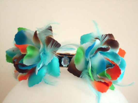 Couture Dog collar. Multi coloured petal flower surround with faux gem center.